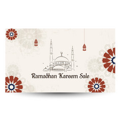Ramadan kareem sale with arabic calligraphy vector