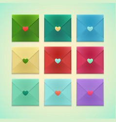 realistic colorful envelopes set with heart vector image