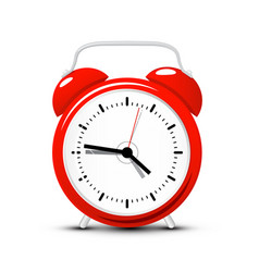 red alarm clock time icon isolated on white vector image
