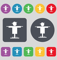 Scarecrow icon sign A set of 12 colored buttons vector
