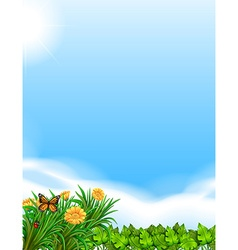 Scene with blue sky and garden vector image