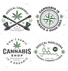 Set medical cannabis badge label with cannabis vector