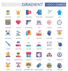 set of trendy flat gradient video games vector image