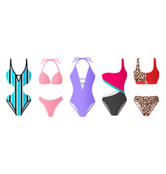 Set women swimsuits colorful bikini and vector