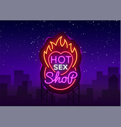 Sex shop logo in neon style design pattern hot vector