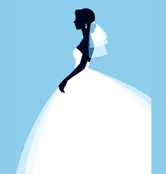 silhouette of a beautiful young bride in a vector image