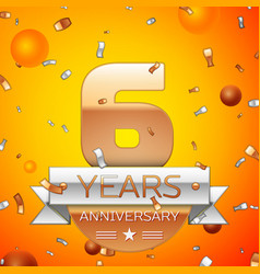 six years anniversary celebration design vector image