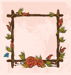 Square vintage frame made of branches with roses vector