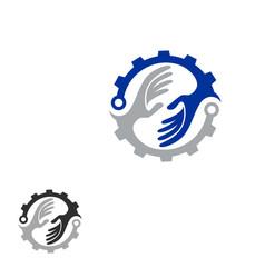 tech helping hand concept logo vector image