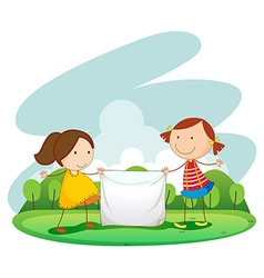 Two girls holding cloth in the park vector