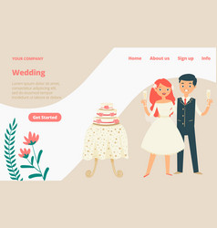 wedding celebration landing web page concept vector image