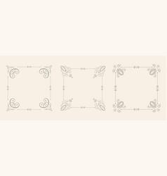 wedding style floral frame borders decorative set vector image
