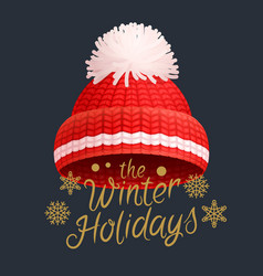 winter holidays knitted red hat with white pom-pom vector image