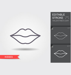 woman lips line icon with editable stroke vector image