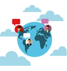 world globe people speech bubbles social media vector image