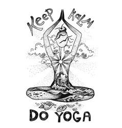 yoga meditation pose graphic hand drawn vector image