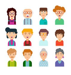 Collection of cute avatars vector