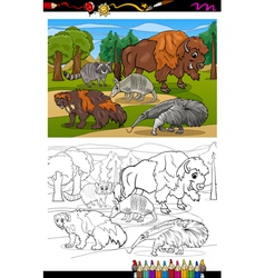 mammals animals cartoon coloring book vector image