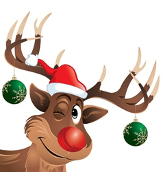Rudolph the reindeer winking with Christmas Balls vector image vector image