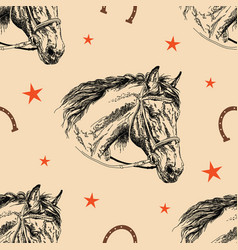 Seamless pattern horse head vector