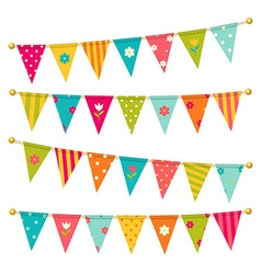 triangle bunting flags with flowers vector image vector image