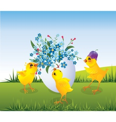 Chickens and Easter egg vector image
