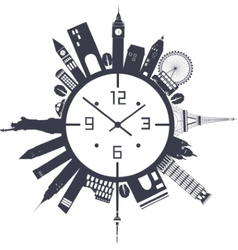 Clock in black and white vector image vector image