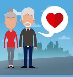 Couple bubble love social media urban background vector