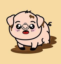 cute and dirty pig cartoon vector image