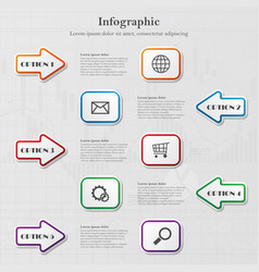 infographic with arrows and squares vector image vector image