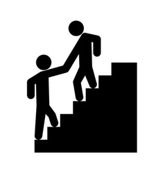 man helping climb other man vector image