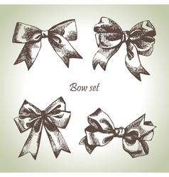 Set of bow Hand drawn of ribbons vector image