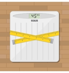 Bathroom floor weight scale and measuring tape vector