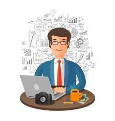 business infographics businessman in vector image