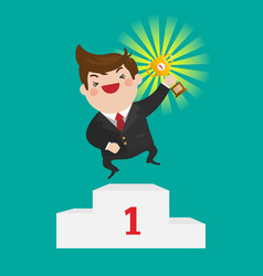 businessman win a trophy vector image vector image