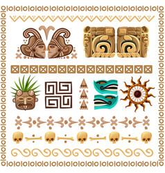 mayan ornaments and patterns cartoon set vector image