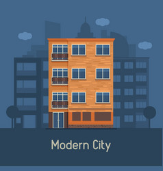 modern multistory house on city background vector image vector image
