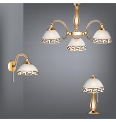 Set table lamp chandelier vector