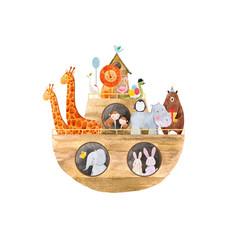 watercolor baby noah ark vector image
