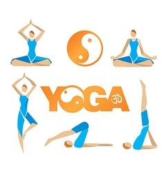 Yoga icons symbols vector image vector image