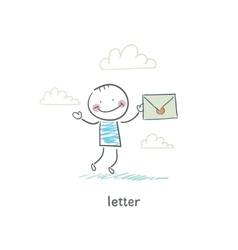 A man and a letter vector image vector image