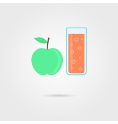 apple and glass of orange juice with shadow vector image vector image