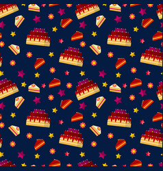 colorful birthday cakes seamless pattern vector image