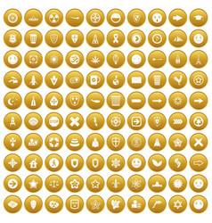 100 emblem icons set gold vector