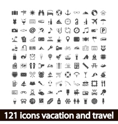 121 icons vacation and travel vector