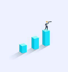 a businessman standing on financial chart looks vector image