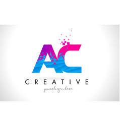 Ac a c letter logo with shattered broken blue vector