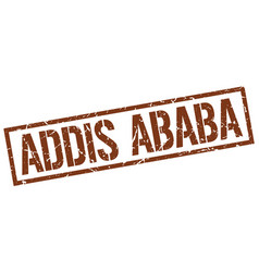 Addis ababa brown square stamp vector