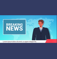 Anchorman broadcasting daily breaking news on tv vector