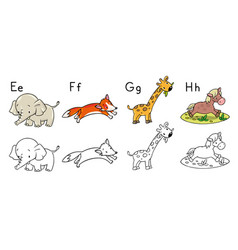 animals alphabet or abc coloring book vector image